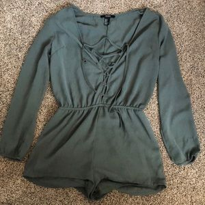 Army green criss cross romper